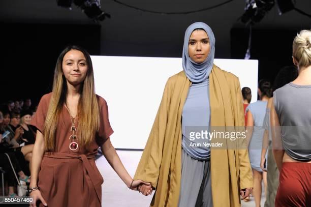 Meridian fashion designer Maya Grigoruk walks the runway at 2017 Vancouver Fashion Week Day 3 on September 20 2017 in Vancouver Canada