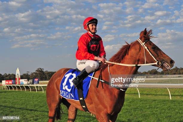 Meridian Star ridden by Jessica Payne returns to the mounting yard after winning the Greater Shepparton City Sprint BM64 Handicap at Tatura...