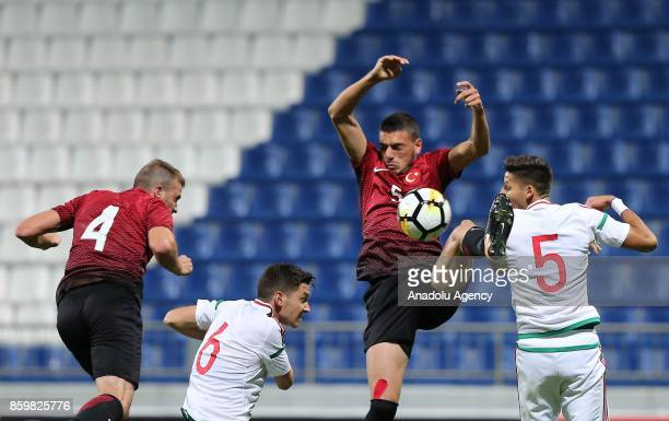 Merih Demiral of Turkey in action against Akos Kecskes of Hungary during the 2017 UEFA European Under21 Championship qualification Group 6 football...