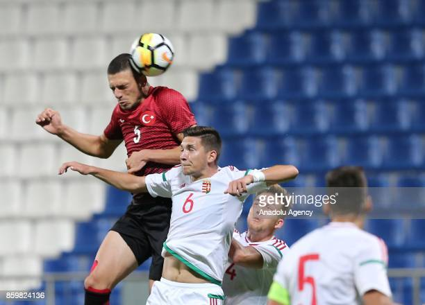 Merih Demiral of Turkey in action against Mate Vida of Hungary during the 2017 UEFA European Under21 Championship qualification Group 6 football...