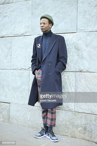 Meriko Azoa poses before the N21 show during the Milan Men's Fashion Week Fall/Winter 2016/17 on January 17 2016 in Milan Italy
