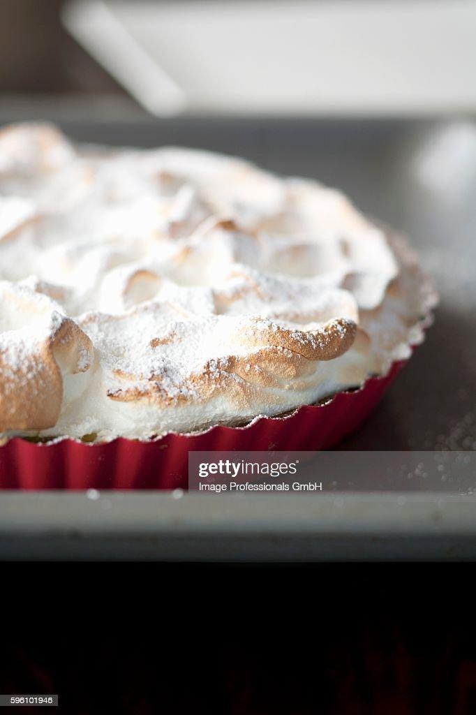 Meringue tart with icing sugar