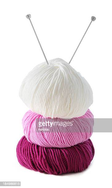Merino wool skeins isolated on white