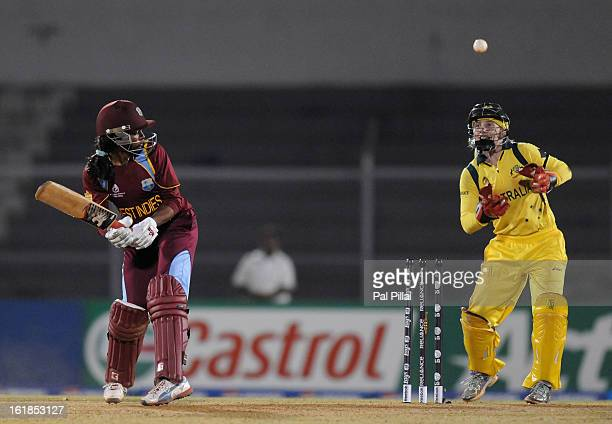 Merissa Aguilleira captain of West Indies gets bowled out by Lisa Sthalekar of Australia during the final between Australia and West Indies held at...