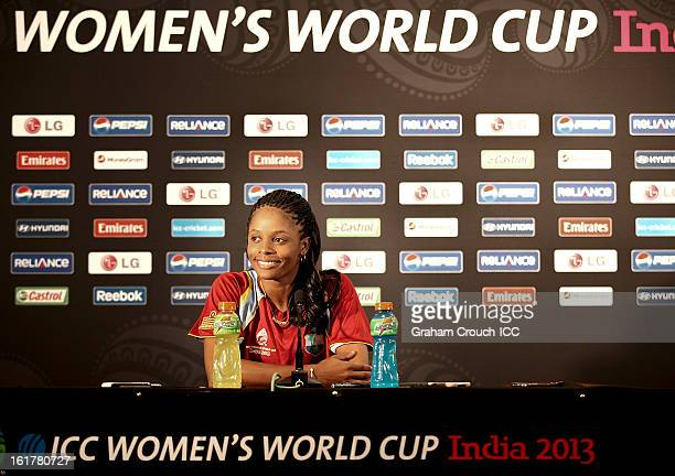 Merissa Aguilleira captain of West Indies speaking at a press conference at the Cricket Club of India ground ahead of tomorrows ICC Womens World Cup...