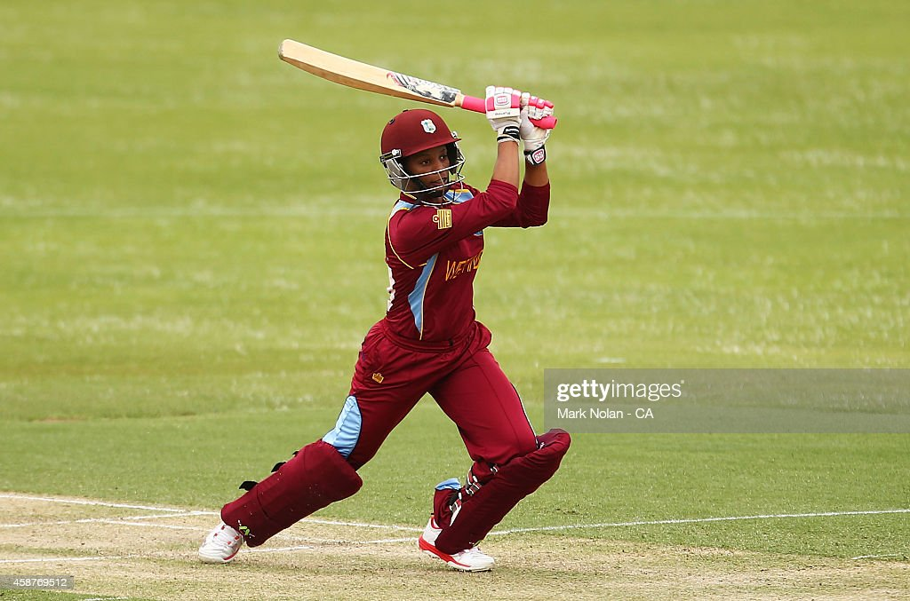<a gi-track='captionPersonalityLinkClicked' href=/galleries/search?phrase=Merissa+Aguilleira&family=editorial&specificpeople=5740699 ng-click='$event.stopPropagation()'>Merissa Aguilleira</a> of the West Indies bats during game one of the women's One Day International series between Australia and the West Indies at Hurstville Oval on November 11, 2014 in Sydney, Australia.
