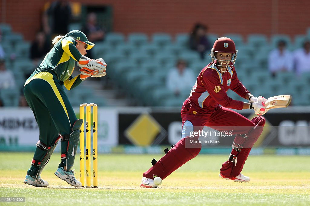 <a gi-track='captionPersonalityLinkClicked' href=/galleries/search?phrase=Merissa+Aguilleira&family=editorial&specificpeople=5740699 ng-click='$event.stopPropagation()'>Merissa Aguilleira</a> of the West Indies bats during game two of the International Women's Twenty20 series between Australia and the West Indies at Adelaide Oval on November 5, 2014 in Adelaide, Australia.