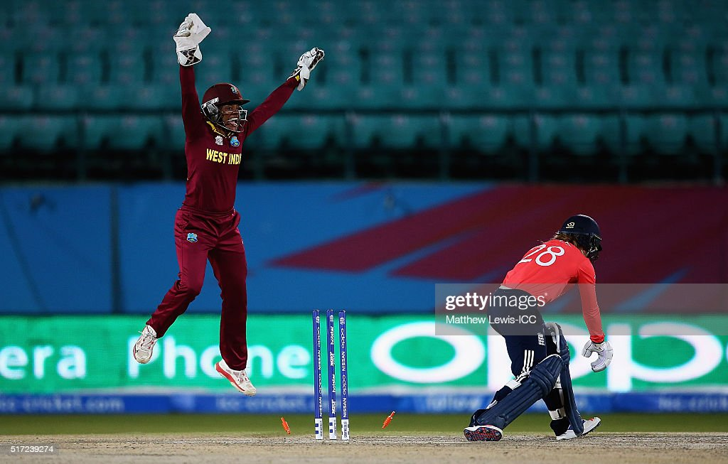 <a gi-track='captionPersonalityLinkClicked' href=/galleries/search?phrase=Merissa+Aguilleira&family=editorial&specificpeople=5740699 ng-click='$event.stopPropagation()'>Merissa Aguilleira</a> of the West Indies celebrates, after <a gi-track='captionPersonalityLinkClicked' href=/galleries/search?phrase=Danielle+Wyatt&family=editorial&specificpeople=6922307 ng-click='$event.stopPropagation()'>Danielle Wyatt</a> of England is bowled by Stafanie Taylor, Captain of the West Indies during the Women's ICC World Twenty20 India 2016 match between England and the West Indies at the HPCA Stadium on March 24, 2016 in Dharamsala, India.