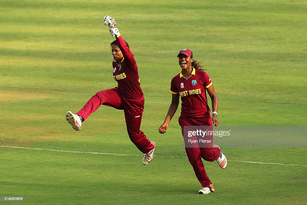 <a gi-track='captionPersonalityLinkClicked' href=/galleries/search?phrase=Merissa+Aguilleira&family=editorial&specificpeople=5740699 ng-click='$event.stopPropagation()'>Merissa Aguilleira</a> of the West Indies celebrates victory during the Women's ICC World Twenty20 India 2016 Semi Final match between West Indies and New Zealand at Wankhede Stadium on March 31, 2016 in Mumbai, India.