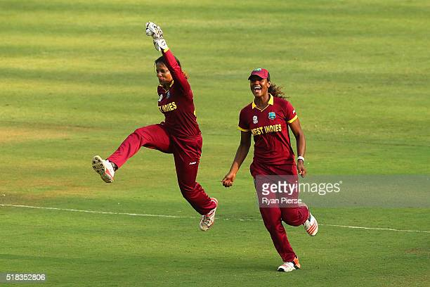 Merissa Aguilleira of the West Indies celebrates victory during the Women's ICC World Twenty20 India 2016 Semi Final match between West Indies and...