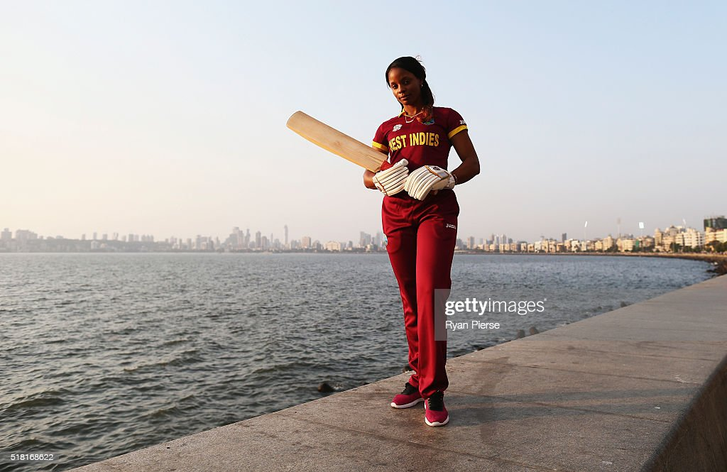<a gi-track='captionPersonalityLinkClicked' href=/galleries/search?phrase=Merissa+Aguilleira&family=editorial&specificpeople=5740699 ng-click='$event.stopPropagation()'>Merissa Aguilleira</a> of the West Indies poses during a West Indies Portrait Session on March 30, 2016 in Mumbai, India.
