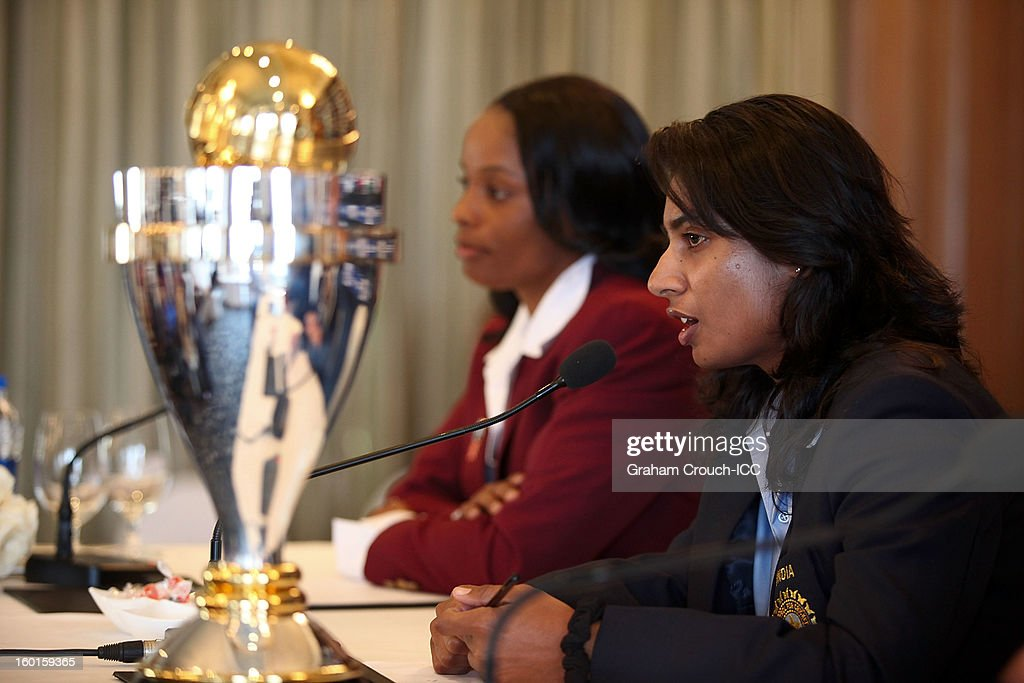 Merissa Aguilleira of West Indies and Mithali Raj of India with the ICC Womens World Cup trophy attend the Captains Group A Press Conference at the Taj Mahal Palace Hotel on January 27, 2013 in Mumbai, India.