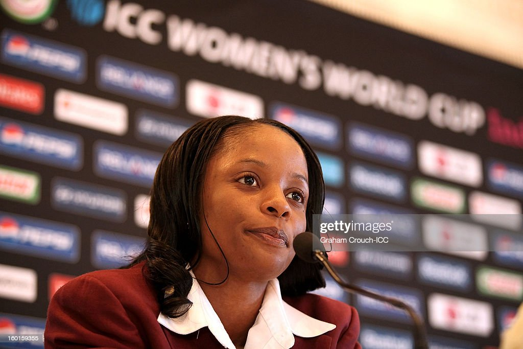 Merissa Aguilleira of West Indies at the ICC Womens World Cup trophy attends the Captains Group A Press Conference at the Taj Mahal Palace Hotel on January 27, 2013 in Mumbai, India.