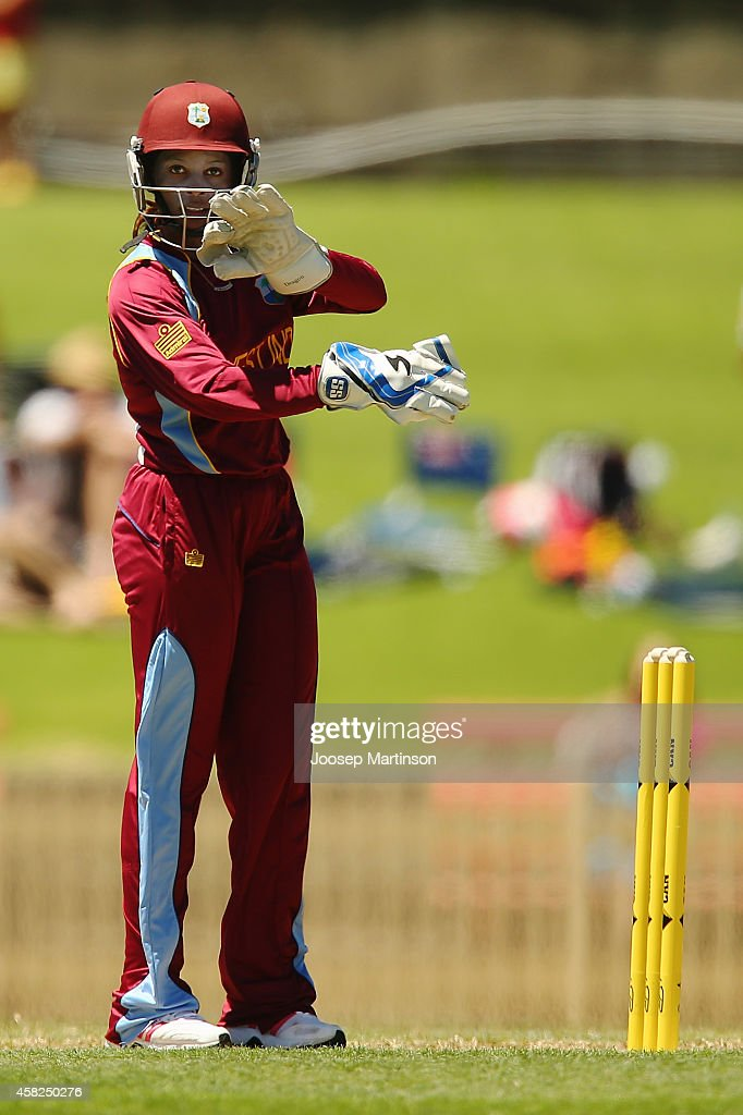 <a gi-track='captionPersonalityLinkClicked' href=/galleries/search?phrase=Merissa+Aguilleira&family=editorial&specificpeople=5740699 ng-click='$event.stopPropagation()'>Merissa Aguilleira</a> of West Indies directs team-mates during the women's International Twenty20 match between Australia and the West Indies at North Sydney Oval on November 2, 2014 in Sydney, Australia.
