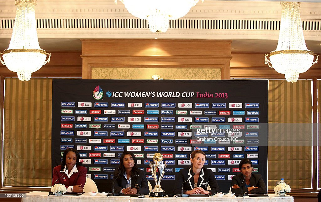 Merissa Aguilleira of West Indies, Mithali Raj of India, Charlotte Edwards of England and Shashikala Siriwardena of Sri Lanka with the ICC Womens World Cup trophy attend the Captains Group A Press Conference at the Taj Mahal Palace Hotel on January 27, 2013 in Mumbai, India.