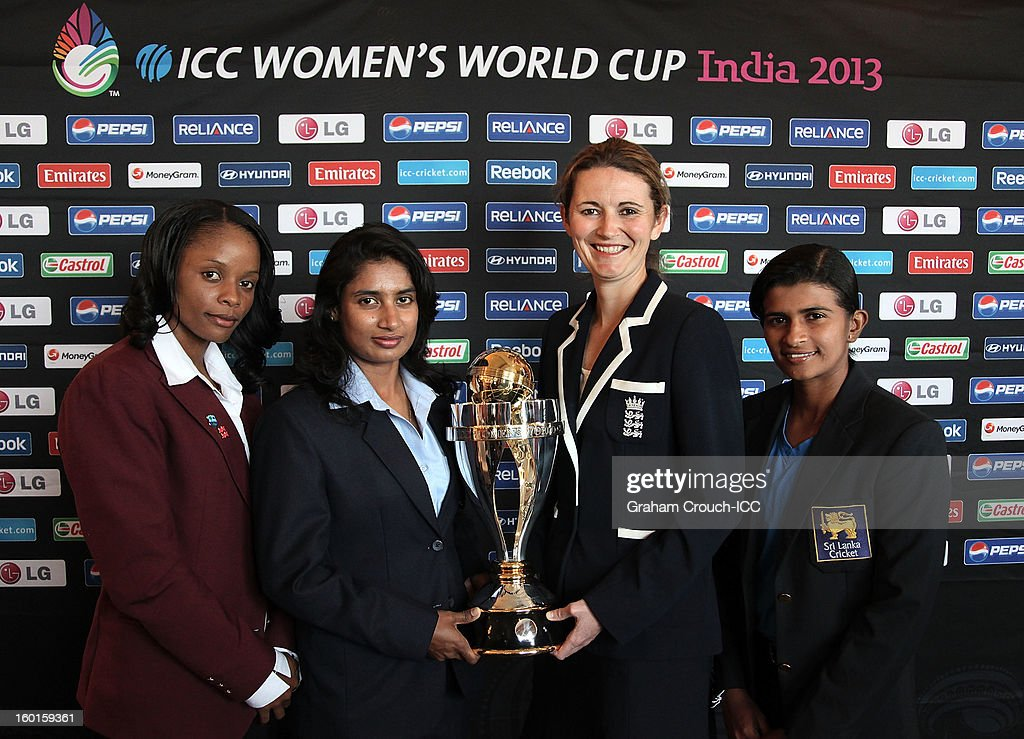 Merissa Aguilleira of West Indies, Mithali Raj of India, <a gi-track='captionPersonalityLinkClicked' href=/galleries/search?phrase=Charlotte+Edwards&family=editorial&specificpeople=618915 ng-click='$event.stopPropagation()'>Charlotte Edwards</a> of England and Shashikala Siriwardena of Sri Lanka with the ICC Womens World Cup trophy attend the Captains Group A Press Conference at the Taj Mahal Palace Hotel on January 27, 2013 in Mumbai, India.