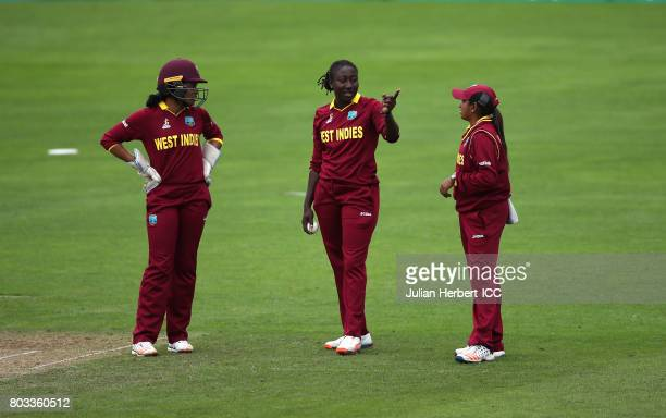 Merissa Aguilleira Stafanie Taylor and Anisa Mohammed of The West Indies discuss tactics during The ICC Women's World Cup 2017 match betwen The West...