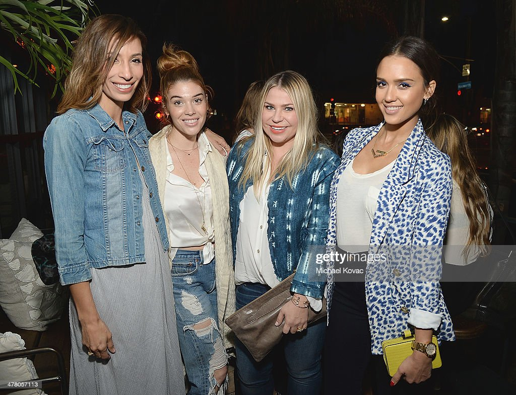 Meritt Elliott, Lauren Andersen, Emily Current, and <a gi-track='captionPersonalityLinkClicked' href=/galleries/search?phrase=Jessica+Alba&family=editorial&specificpeople=201811 ng-click='$event.stopPropagation()'>Jessica Alba</a> attend Anthropologie Celebrates A Denim Story by Emily Current, Meritt Elliott and Hilary Walsh at PaliHotel on March 11, 2014 in Los Angeles, California.