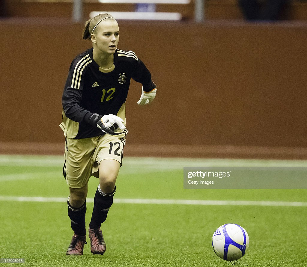 Merle Frohms of Germany with the ball during the Under 19 Women's international friendly between Sweden and Germany at Tipshallen Stadium on November 21, 2012 in Vaxjo, Sweden.