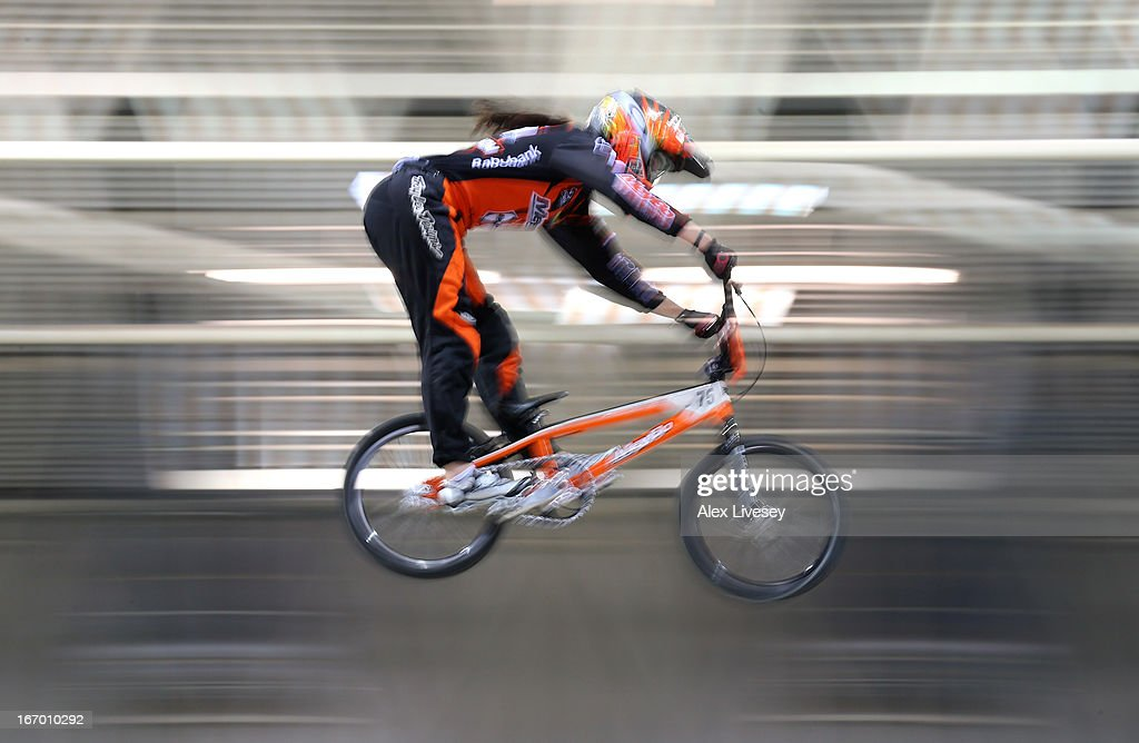 Merle van Benthem of Holland takes the first jump during the Women's Elite Time trials Superfinal in the UCI BMX Supercross World Cup at National Cycling Centre on April 19, 2013 in Manchester, England.