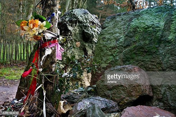 Merlin's menhir / tombeau de Merlin Broceliande at Paimpont Brittany France