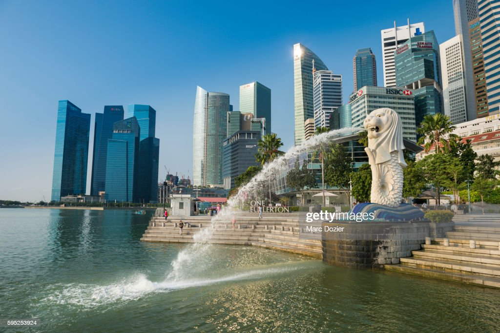 Merlion and the financial district