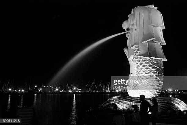 Merlion at night in Singapore