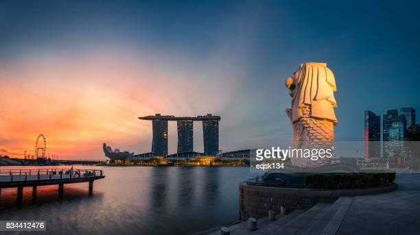 Merlion Statue at sunrise moment