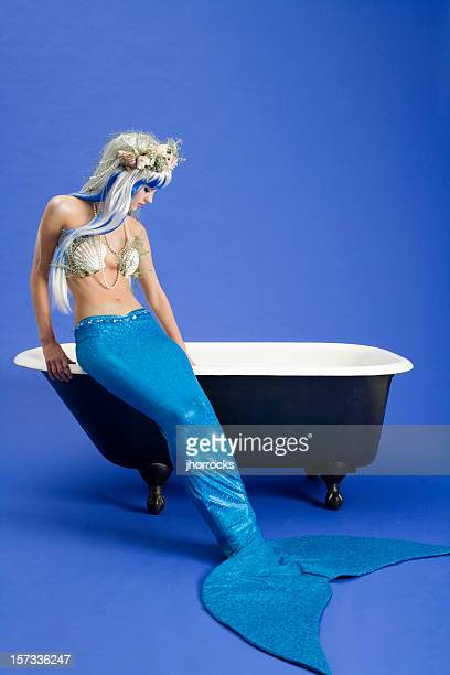 Mermaid Preparing for Bath