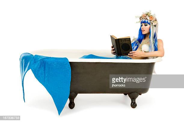 Mermaid Reading in Bath Tub