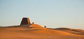 Ancient Meroe Pyramids in a desert in Northern Sudan