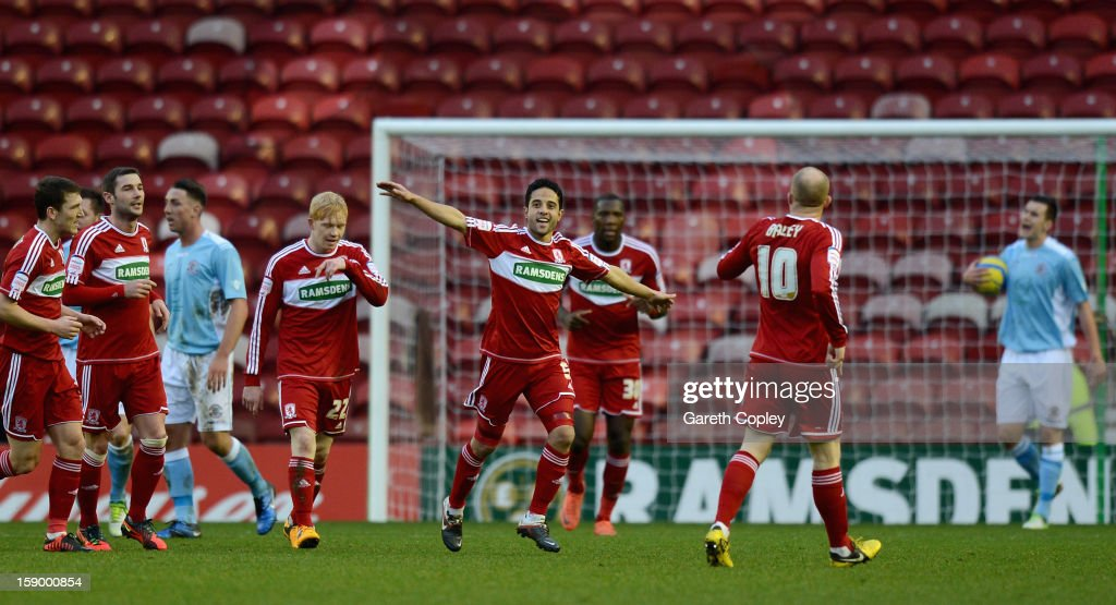 Merouane Zemmama of Middlesborough celebrates scoring the opening goal during the FA Cup with Budweiser Third Round match between Middlesbrough and Hastings United at Riverside Stadium on January 5, 2013 in Middlesbrough, England.