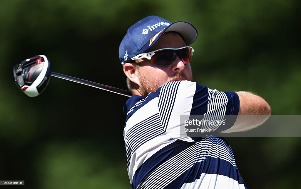 Merrick Bremner of South Africa plays a shot during the first round of the Tshwane Open at Pretoria Country Club on February 11, 2016 in Pretoria, South Africa.