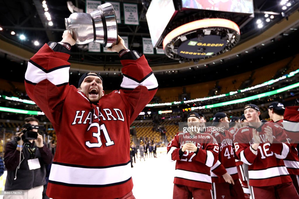 Merrick Madsen #31 of the Harvard Crimson celebrates after the Crimson defeat the Boston University Terriers 6-3 in the 2017 Beanpot Tournament Championship at TD Garden on February 13, 2017 in Boston, Massachusetts.
