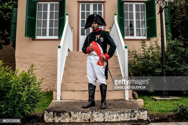 Merril Joshua from Enterprise Saint Helena dressed as Napoleon poses for a portrait during a reception at Bertran Cottage on October 15 on the...