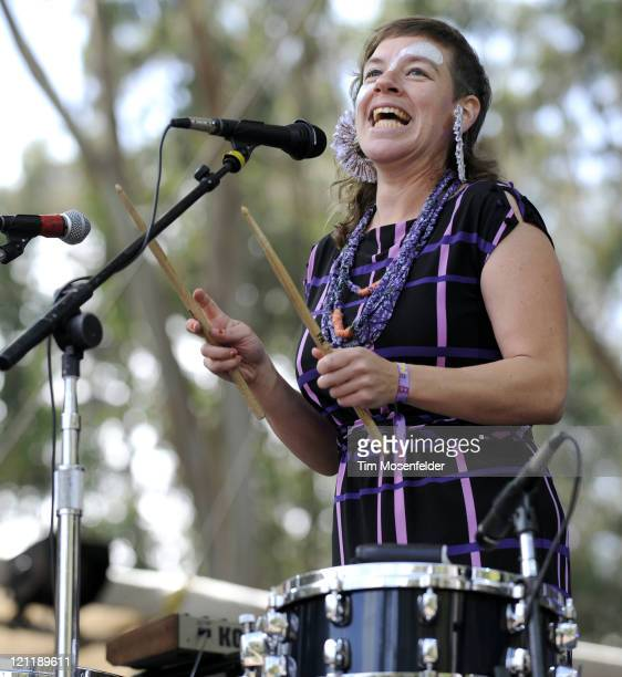 Merrill Garbus of TuneYards performs at Day Three of the Outside Lands Music Art Festival at Golden Gate Park on August 14 2011 in San Francisco...