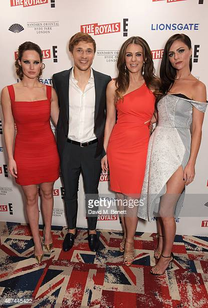Merritt Patterson William Moseley Elizabeth Hurley and Alexandra Park attend the 'The Royals' UK premiere party at the Mandarin Oriental Hyde Park on...