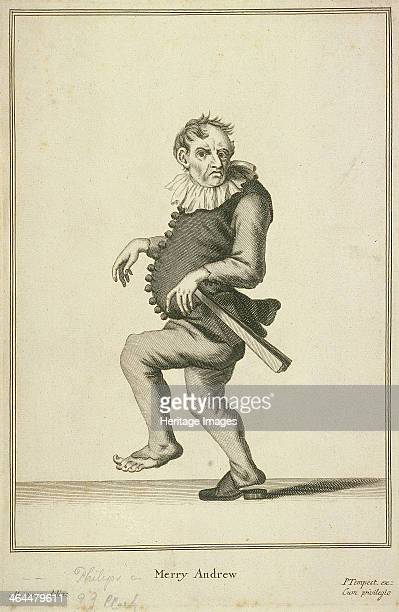 'Merry Andrew' a clown or buffoon Crosslooking man dancing with one shoe and a ruff From Cries of London