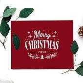 Merry Christmas 2018 greeting card mockup