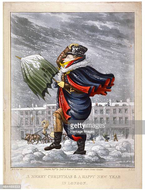 'A Merry Christmas a Happy New Year in London' c1825 A pedestrian struggling through the snow facing a driving blizzard with a broken umbrella In the...