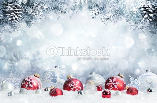 Merry Christmas - Baubles On Snow With Fir Branches : Stock Photo