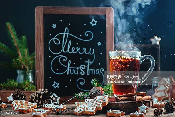 Merry Christmas hot tea with cookies