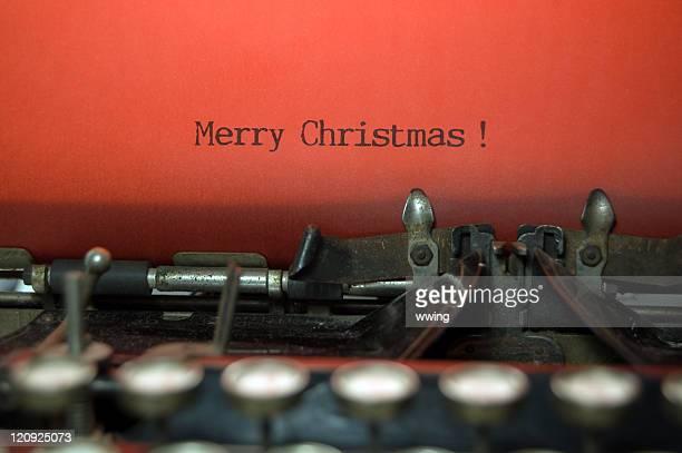 Merry Christmas on antique typewriter