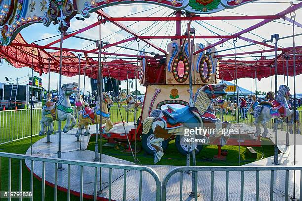 Merry go round carnival ride at community festival