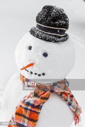 Merry White Snowman with a scarf and hat : Stock Photo