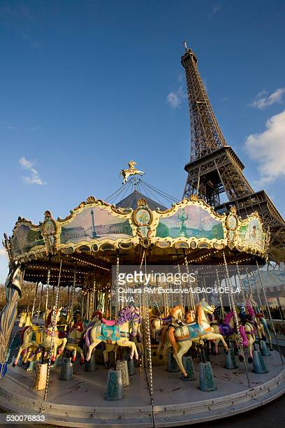 Merry-go-round with Eiffel Tower behind, Paris, France