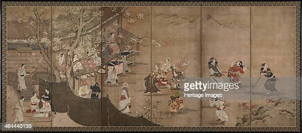 Merrymaking under aronia blossoms Left of a pair of sixsection folding screens 18th century Found in the collection of the Tokyo National Museum