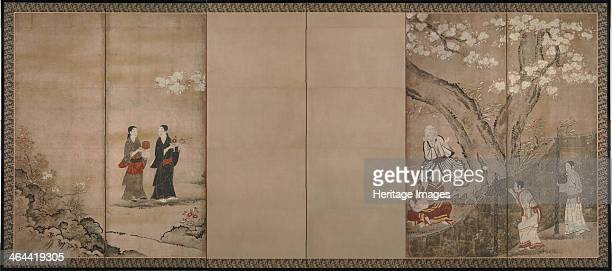 Merrymaking under aronia blossoms Right of a pair of sixsection folding screens 18th century Found in the collection of the Tokyo National Museum