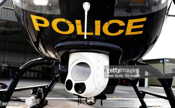 A Merseyside Police Helicopter and their new camera which can show a mans face fully from a height of 1000ft and which will be used for the first...
