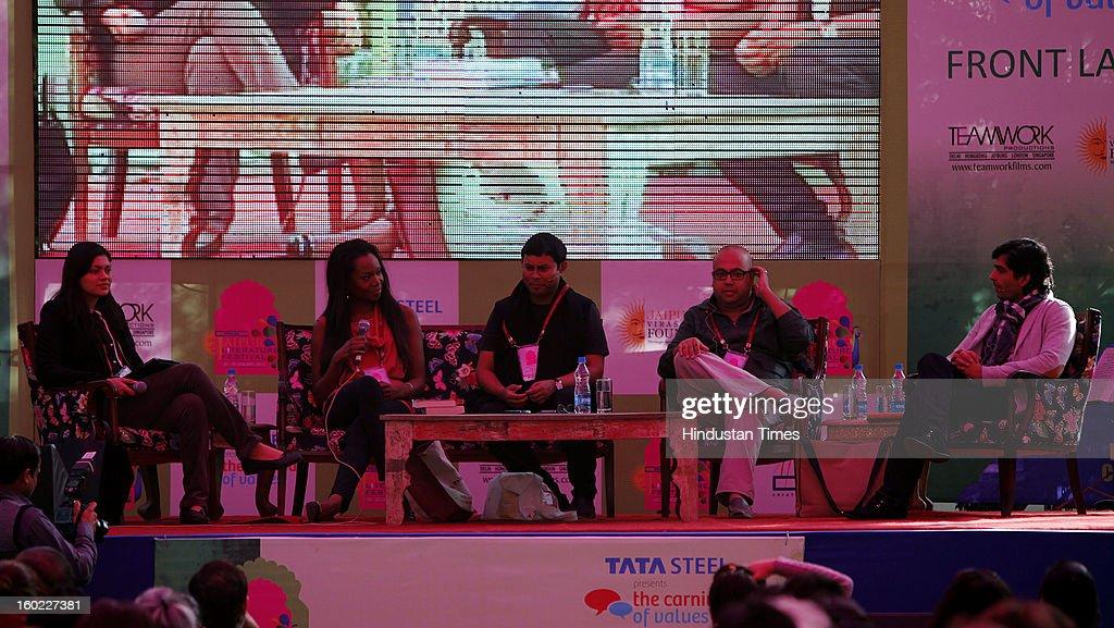 Meru Gokhale, Aita Ighodaro, Hindol Sengupta, Prajwal Parajuly, Anosh Irani at the Jaipur Literature Festival on January 28, 2013 in Jaipur, India.